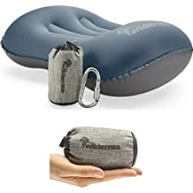 Wildernss Inflatable Camping Pillow + Ultralight Stuff Bag + Screw Locking Carabiner - Excellent Choice for Camping, Travel, Go Bags, Hiking Essentials or Backpacking Gear