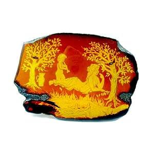 Placa de ámbar natural con grabado clásico hecho a mano - Rodmayer