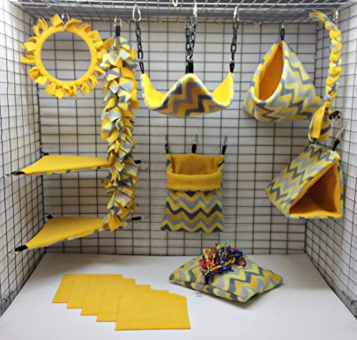 Sofun Pet Products 15 Piece Sugar Glider cage Pouch Set Double Layered - Blanket Glider Fleece Sugar