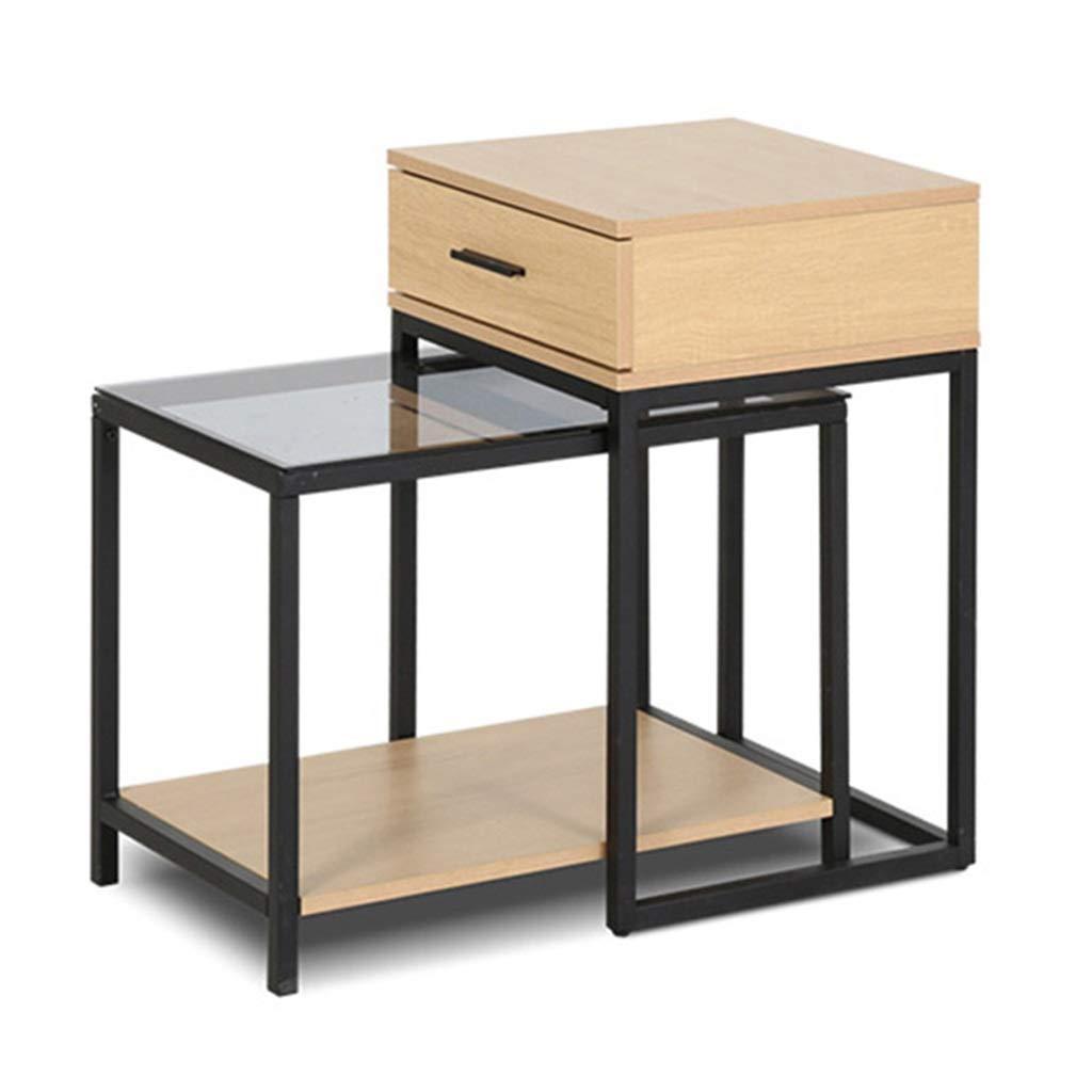 シンプルな鍛造アイアンサイドテーブルの組み合わせリビングルームソファベッドルームベッドサイドストレージキャビネット引き出し付きダブルスペース B07MNKV6NT