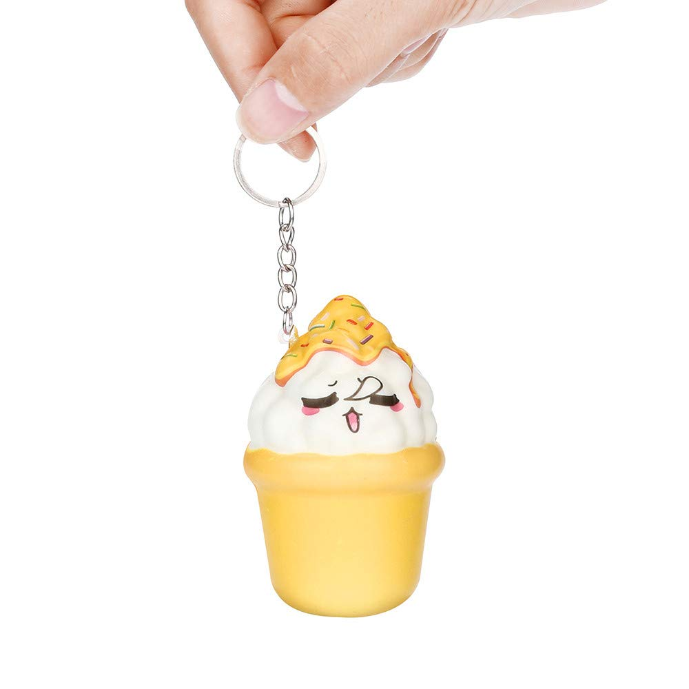 Amazon.com : Pausseo Simulation Adorable Ice Cream Keychain ...
