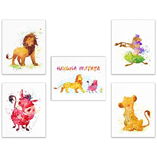 - Lion King Disney Watercolor Wall Art Prints- Set of 5 (8x10) Poster Photos - Hakuna Matata It Means No Worries - Timon - Pumba - Simba