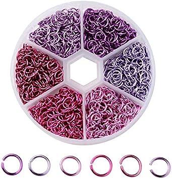 DIYARTS 6 Couleur 1080 Pcs 6mm Ouvert Anneaux De Saut en Aluminium Connecteur Boucle pour La R/éparation Faire La Collier Bracelet Bijoux #1