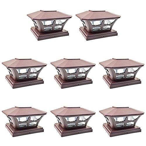 iGlow 8 Pack Brown Outdoor Garden 6 x 6 Solar SMD LED Post Deck Cap Square Fence Light Landscape Lamp PVC Vinyl Wood