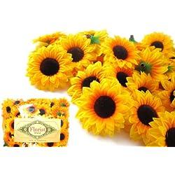 "(100) Silk Yellow Sunflowers sun Flower Heads , Gerber Daisies - 1.5"" - Artificial Flowers Heads Fabric Floral Supplies Wholesale Lot for Wedding Flowers Accessories Make Bridal Hair Clips Headbands Dress by Florist Brand"