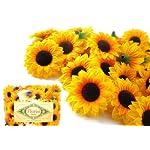 """Silk Flower Arrangements (100) Silk Yellow Sunflowers sun Flower Heads , Gerber Daisies - 1.5"""" - Artificial Flowers Heads Fabric Floral Supplies Wholesale Lot for Wedding Flowers Accessories Make Bridal Hair Clips Headbands Dress by Florist Brand"""