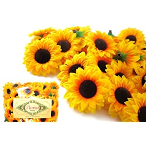 "(100) Silk Yellow Sunflowers sun Flower Heads , Gerber Daisies - 1.5"" - Artificial Flowers Heads Fabric Floral Supplies Wholesale Lot for Wedding Flowers Accessories Make Bridal Hair Clips Headbands Dress by Florist Brand 15"