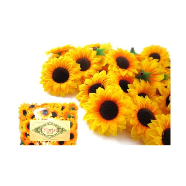 (100) Silk Yellow Sunflowers sun Flower Heads , Gerber Daisies – 1.5″ – Artificial Flowers Heads Fabric Floral Supplies Wholesale Lot for Wedding Flowers Accessories Make Bridal Hair Clips Headbands Dress by Florist Brand