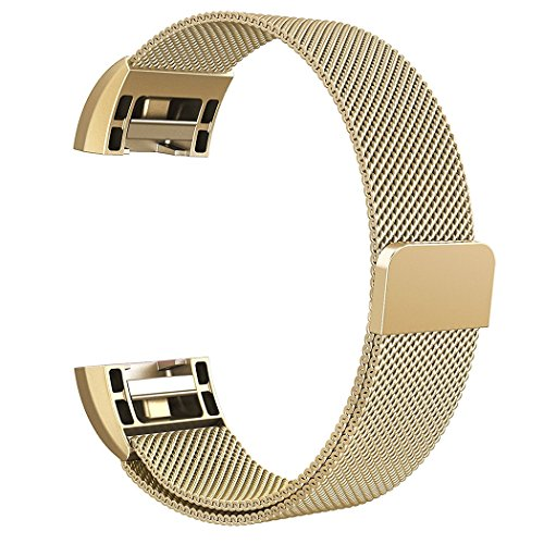 8.5' Stainless Steel Bracelet (Azadodo For Fitbit Charge 2 Bands Small Gold, Adjustable Magnetic Milanese Loop Stainless Steel Metal Replacement Accessories Bracelet Strap Band with Unique Magnet Lock Clasp for Fitbit Charge 2 HR)