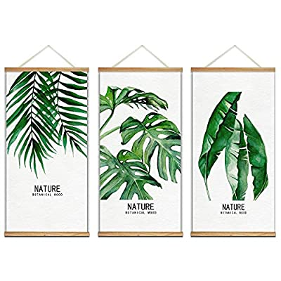 Amazing Visual, Hanging Poster with Wood Frames Beautiful Green Plants Home Wall x3 Panels, it is good
