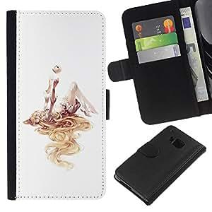 Be-Star la tarjeta de Crédito Slots PU Funda de cuero Monedero caso cubierta de piel Para HTC One M9 ( Girl Deep Abstract Art Watercolor White )