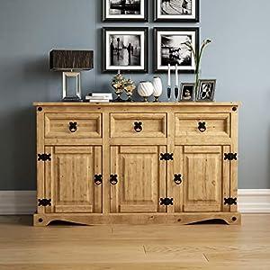 Amazon Brand – Movian Corona Sideboard, 3 Door 3 Drawer, Solid Pine Wood ,Waxed, 76 x 125 x 40 cm