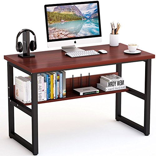 Tribesigns 47 Inches Computer Desk with Bookshelf Works as Office Desk Study Table Workstation for Home Office (47'', Cherry)