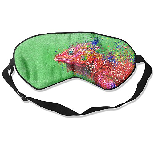 100% Silk Sleep Mask Eye Mask Colorful Lizard Splash Soft Eyeshade Blindfold with Adjustable Strap for Men Women and Kids for Sleeping Travel Work Naps Blocks Light