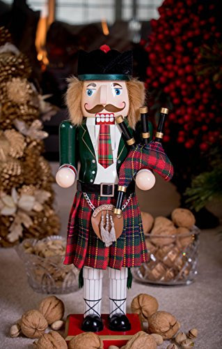"Clever Creations Scottish Wooden Collectible Nutcracker Wearing Scottish Kilt, Green Coat, and Plaid Hat with Bagpipes | Festive Decor | Perfect for Shelves and Tables | 100% Wood | 14"" Tall by Clever Creations (Image #5)"