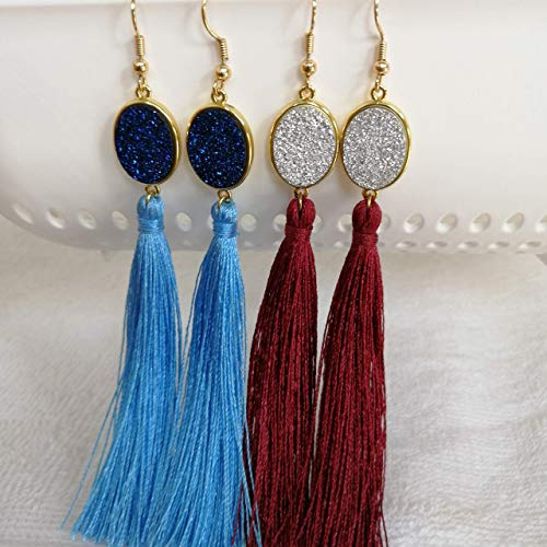 (Dove Eyes Exclusive Women Tassel Earrings Druzy Stone bohamian style; 2 Pairs -Wine Red+ Blue Dangling Long; for Wedding, Gift for girls; Bridesmaid)