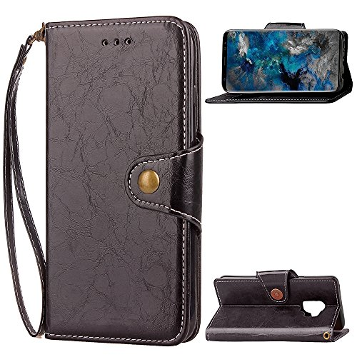 Price comparison product image Galaxy S9 Case,DAMONDY Retro Business Stand Wallet Purse Card ID Holders Design Flip Cover TPU Soft Bumper PU Leather Magnetic for Samsung Galaxy S9 -Black