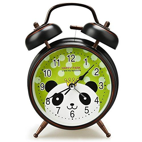 Analog Alarm Clock for Kids, Cute Vintage Bell Alarm Clocks for Bedrooms, 4'' Small Carton Table Retro Clock for Children (Black)