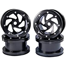 RCLIONS 2.2 inch Aluminum RC Beadlock Wheels Rims for 1/10th Rock Crawler RC Car Axial Wraith 90018 -Pack of 4pcs (Black)