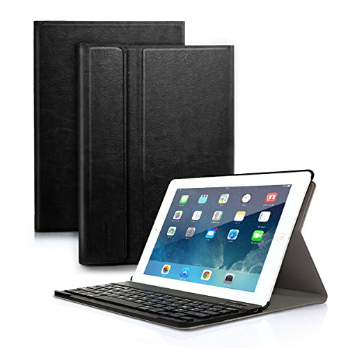 Feelkaus iPad Case with iPad Bluetooth Keyboard Smart Cover Protective Cover with QWERTY Wireless Keyboard for iPad Air 1/iPad Air 2/iPad Pro 9.7''/iPad 2017/iPad 2018 English Magnetic Tablet Black by Feelkaus