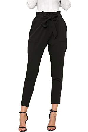 ASKSA Damen Hosen Elegant Hoher Bund Falten Chiffon Stretch Pants Skinny  Hosen Streetwear Hose mit Tunnelzug 1937ed6bca