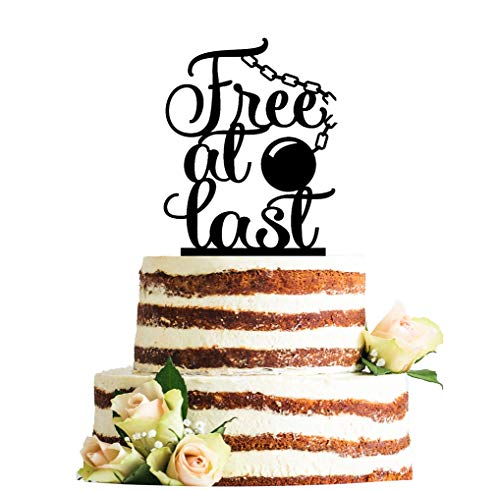 Free At Last Divorce Topper with Ball and Chain Accent, Divorce Cake Topper, Just Divorced/Divorce Party decoration