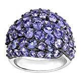 6 1/2 ct Natural Tanzanite Dome Ring in Sterling Silver