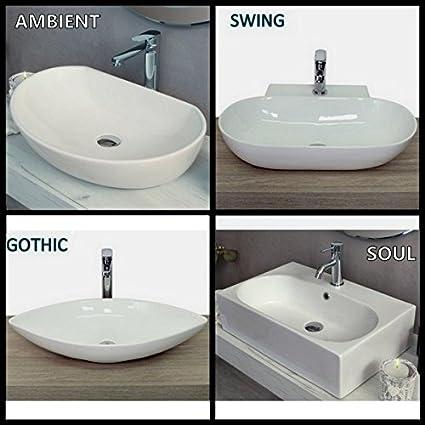 Lavabo bianco d\'appoggio in ceramica bagno design moderno classico ...
