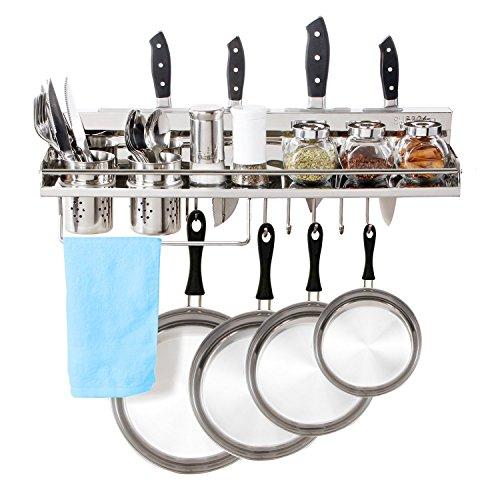 Lifewit Küchenregal Topfhalter Pfannenhalter Gewürzregal 6-in-1 Messerblock mit Topf Hängeregal Weinregal Wandregal Küchenablage