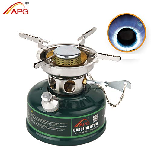 APG Dual Fuel Portable Camping Stove Liquid Fuel Gasoline Stove Burner, Compact Mini Cooking Stove with Silencer, for Outdoor Hiking Camping Backpacking Emergency & Survival