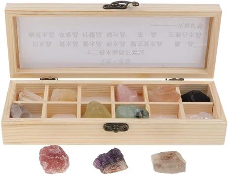 D DOLITY 12 Piezas Muestra de Piedras Preciosas Minerales Amatista Cuarzo con Caja de Almacenamiento, Regalo de Recuerdo para Adultos Niños: Amazon.es: Juguetes y juegos