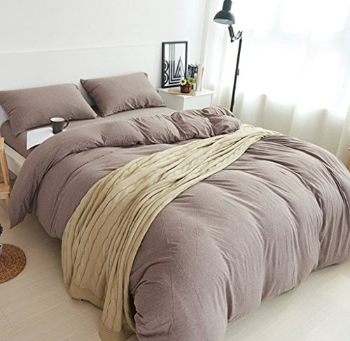 DOUH Jersey Knit Cotton 3 Pieces Duvet Cover Set Queen Size Ultra Soft Solid Duvet Cover and Pillow Shams Comfy Coffee Bedding Set for Kids Adults by DOUH (Image #1)