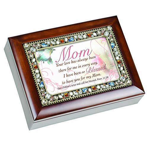 Mom So Blessed Cottage Garden Jeweled Musical Music Jewelry Box Plays Wind Beneath My Wings
