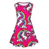 Freebily Kids Girls Cartoon Dress Rainbow Easter Party Fairy Dress Costumes Rose 2-3