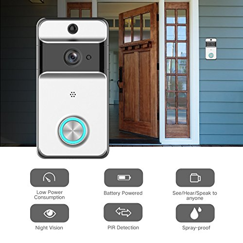 GJT 2018 Splash-Proof Smart Video Doorbell Home Security Camera with Indoor Chime, 8G SD Card, Free Cloud Service, 1 Battery, 2-Way Talk, Night Vision, PIR Motion Detection for iOS Android by GJT (Image #1)
