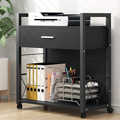 - Tribesigns Mobile Printer Stand, Modern Lateral File Cabinets, Computer Side Table Printer Cart Machine Stand with 4 Rolling Wheels and Storage Drawer for Home Office, Metal Frame Black