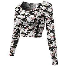 Luna Flower Women's Cotton Long Sleeve Scoop Neck Slim Fit Tops
