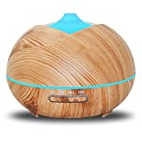 Humidifiers 400ml Woodgrain Ultrasonic Aroma Energy-saving Portable Home Mute Large Volume Air, LightWoodColor