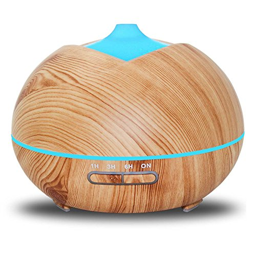 Humidifiers 400ml Woodgrain Ultrasonic Aroma Energy-saving Portable Home Mute Large Volume Air, LightWoodColor by Humidifiers