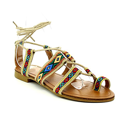 (Women's Flat Gladiator Sandal Toe Ring Ankle Strap Cage Summer Dress Shoes Beige 8.5)
