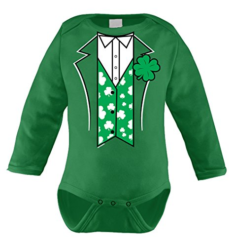 HAASE UNLIMITED Irish Tuxedo Infant Long Sleeve Bodysuit (Kelly Green, 6 -