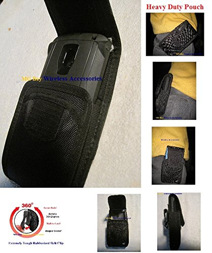 Nite Ize Black Extended Wide Cargo Vertical / Horizontal Heavy Duty Rugged XX-large Holster Pouch extremely durable W/Swivel 360 Rotating Belt Clip, Fits Motorola Moto G4 XT1625 / G4 Plus XT1644 With Hybrid Cover Case On Cellphone