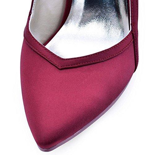 Minitoo MinitooUK-MZ8211, Escarpins Pour Femme - Rouge - Burgundy-10cm Heel, 36.5 EU