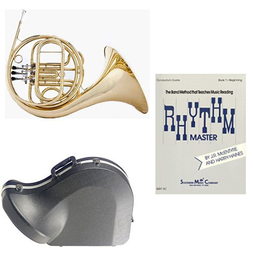 Band Directors Choice Single French Horn in F - Rhythm Master Pack; Includes Student French Horn, Case, Accessories & Rhythm Master Book by French Horn Packs