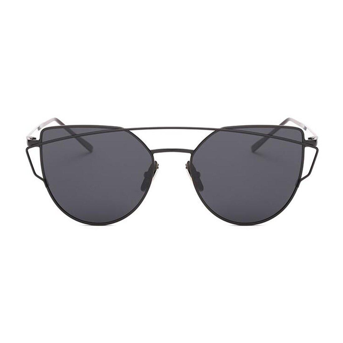 Retro Platz Flieger Sonnenbrille Premium Glas Linse Flach Metall Gläser Damen Herren(Gold/Grau) 2SQLM