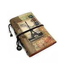 CKLT Soft PU Leather Journal A6 Notebook Diary Planner and Photo Album with Vellum Paper and Zipper Pocket (Eiffel)