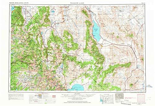 YellowMaps Walker Lake NV topo map, 1:250000 Scale, 1 X 2 Degree, Historical, 1957, Updated 1967, 22 x 32.1 in - Tyvek (Nv Larson)