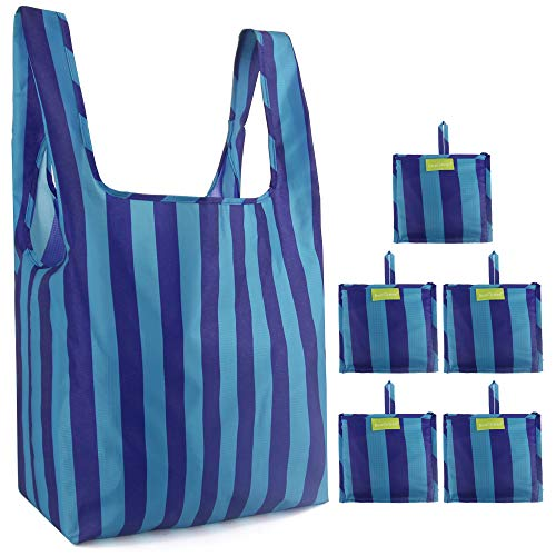 Grocery-Shopping-Bags 5 Pack Ripstop 50LBS Reusables Bags with Pouch XLarge Shopping totes in Bulk Waterproof Machine Washable Lightweight Stripe Navy Green