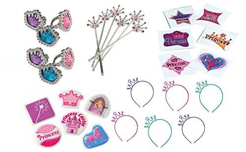 [Princess Party Favor Bundle Set for 12 (Tattoos, Stickers, Rings, Princess Headbands & Wands-252] (Tattoos Of Princess Crowns)