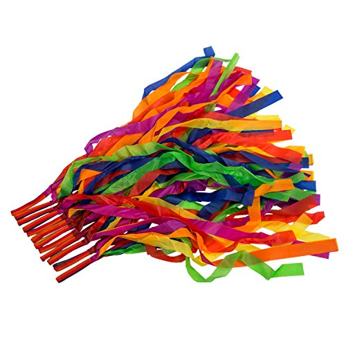 MeetCraig - Ribbons - 12pcs Hand Held Dance Rainbow Ribbon Toys Random Color - Ring Cable Shoelaces Kite Twirler Lollipops Curtain Garland Roll Hand Skirt Wide Ribbons Book Half Streamers Dazzlers Y